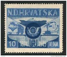~~~ Croatia Exile Issue - Trains Transport #1 ** MNH  ~~~ - Kroatië