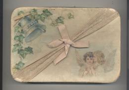 Boîte En Carton Avec Ange Et Cloche En Relief + Ruban Pour Dragées Ou... ? (m6) - Boîtes