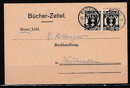 Danzig Vordruck- Bücherzettel Ab Danzig 1t/13.2.22 Mit Paar MiNo. 77 Nach Nordhausen - Danzig