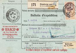 BULLETIN D'EXPEDITION D'un Colis De STRASBOURG Ppal Du 7.4.27 Adressé à St Junien (Hte Vienne) - Elzas-Lotharingen