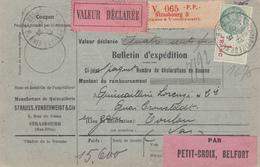BULLETIN D'EXPEDITION D'un Colis Avec Valeur Déclarée En P.P. ( Strauss & Vonderweidt) De STRASBOURG 3 Du 7.4.27 - Elzas-Lotharingen