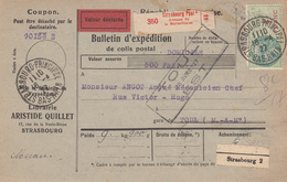 BULLETIN D'EXPEDITION D'un Colis Avec Valeur Déclarée De STRASBOURG Ppal Du 18.4.27 Adressé à Toul - Elzas-Lotharingen
