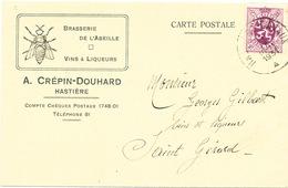 471/25 -  BELGIQUE - Brasserie De L' Abeille à HASTIERE - Carte Illustrée TP Lion 1931 - Prop. Crépin-Douhard - Bières