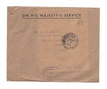 PALESTINE 1946 JERUSALEM COVER+LETTER CERTIFIED OFFICIAL TO ISMAILIA EGYPT - Palestine