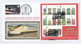 2001 FDC BUSES - CARRIED On CHANNEL TUNNEL TRAIN  Folkestone GB To France Railway Stamps Cover Bus - Bussen