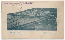 """CPA - MILOS (GRECE) -  Adamas + Griffe -Torpilleur D'escadre """"FANFARE""""- 1919 - Griechenland"""