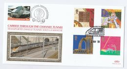 SPECIAL GB FDC CHRISTMAS - CARRIED On CHANNEL TUNNEL TRAIN Folkestone To France Railway Stamps Cover 1999 - Christmas
