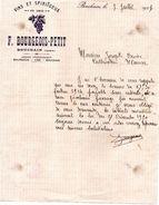 BOUCHAIN ( NORD) . FACTURE VINS ET SPIRITUEUX BOURGEOIS-PETIT. 1921. Achat Immediat - Alimentare