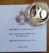 2012 San Marino 10€ Proof In Argento Aligi Sassu - San Marino