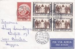 Breif Vaticano 1970. Nach Basilea - Basel. Par Avion. Mi: 553+349 4er Block - Vatican