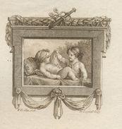 """GRAVURE SÉPIA DU18è DU GRAVEUR DE LONGUEIL """"DEUX JEUNES ENFANTS"""" 1765 - Estampes & Gravures"""