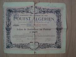 ACTION COMPAGNIE DES CHEMINS DE FER L'OUEST ALGERIEN 1912 - Chemin De Fer & Tramway