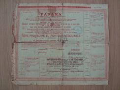 TITRE PROVISOIRE COMPAGNIE UNIVERSELLE DU CANAL INTEROCEANIQUE DE PANAMA 1889 - Actions & Titres