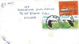 Guyana 1987 Bux On River Steamer Kurupukari  Swallow-tailed Kite Elanoides Forficatus Raptor Cover - Guyana (1966-...)