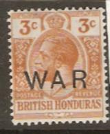 British Honduras 1918 SG 120  3c  War Overprint Mounted Mint - British Honduras (...-1970)