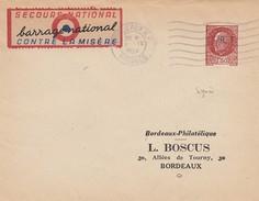 LETTRE.  2 9 1944. PETAIN 1.50 R.F.  BORDEAUX  +  VIGNETTE SECOURS NATIONAL BARRAGE NATIONAL CONTRE LA MISERE. SIGNATURE - France