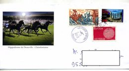 Lettre Cachet La Poste 21618A Sur Fontenoy Athenes Illustré Course Cheval Deauville - Marcophilie (Lettres)