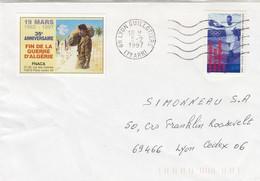 LETTRE LYON GUILLOTIERE ET VIGNETTE 35° ANNIVERSAIRE FIN DE LA GUERRE D'ALGERIE FNACA - Postmark Collection (Covers)