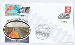 2004 Fawkham MERSHAM BRIDGE Phase CHANNEL TUNNEL RAILWAY Folkestone ANNIV COVER Train Stamps Gb Lion Event Lions - Trains