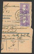 Czechoslovakia, 4 K. 1945, Sc # 285, Used, On Piece, Praha - Czechoslovakia