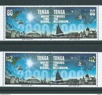 Tonga 1996 Towards 2000 Set Of 2 Pairs MNH Specimen Overprint - Tonga (1970-...)