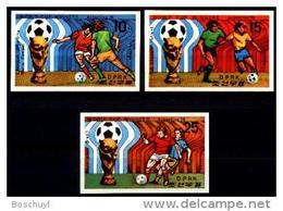 North Korea, 1978, Soccer World Cup Argentina, MNH Imperforated Set, Michel 1777-1779B - Coupe Du Monde