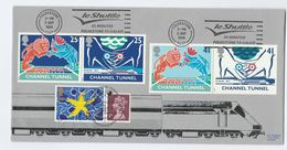 1994 Special FDC CHANNEL TUNNEL With 2 X Pmk SLOGAN & ROYAL INAUGURATION Folkestone Gb Lion Cover Train Railway Royalty - Trains
