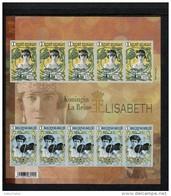 463964927 BELGIE POSTFRIS MINT NEVER HINGED POSTFRISCH EINWANDFREI OCB 4520 4521 Geschenkvelletje Koninging Elisabeth - Zwarte/witte Blaadjes