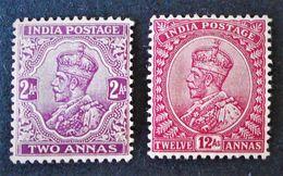 EFFIGIE DE GEORGE V 1911/26 - NEUFS ** - YT 82 + 90 - India (...-1947)
