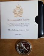 2013 San Marino 10€ Proof In Argento Emilio Greco - San Marino