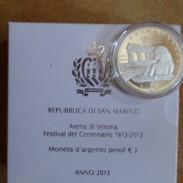 2013 San Marino 5€ Proof In Argento Arena Di Verona Festival Del Centenario - San Marino
