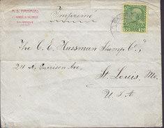Austrian Levant A.S. NAHMIAS, SALONIQUE 1908? Cover Brief ST. LOUIS USA (2 Scans) - Levante-Marken