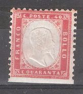 ITALIA / Italie / Italy / Italien 1862 ,Vittorio Emanuele II  Yvert N° 4 , 40 C Rouge, Neuf (*) TB Cote 200 Euros - 1861-78 Victor Emmanuel II