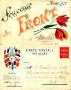 Patriotique 266 Carte Correspondance Franchise Militaire, Souvenir Du Front Août 1915, Dessin à La Main - Patriotic