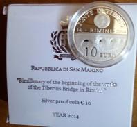 2014 San Marino 10€ Proof In Argento Lavori Al Ponte Di Tiberio A Rimini - San Marino
