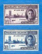 Ref.(MN1) FALKLAND ISLANDS **-1946 - ANNIVERSAIRE De La VICTOIRE Yvert. 93-94. MNH.   Vedi Descrizione. - Falkland