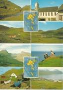 FAROE ISLANDS Saksun Leynar Lundar Batar A Lunni Fjallarod Sydragota Brugvin... 2 Cards - Faroe Islands