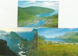 FAROE ISLANDS Klaksvik Leirvik Eysturoy Mikines Tindholmur Vagoy 3 Cards - Faroe Islands