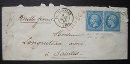 1865 La Rochelle Pc Du GC Sur Lettre Chargée Avec Paire Du N°22 Non Dentelée En Bas Pour Saintes, Voir Photos - Marcophilie (Lettres)