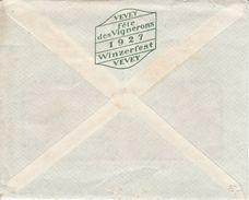 ENVELOPPE DE LA MAISON PETER,CAILLER,KOHLER AVEC AU DOS PUBLICITE DE LA FÊTE DES VIGNERONS 1927 - V/IMAGE - Suisse