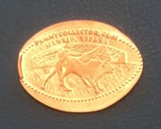 Corrida, Madrid, Spain, Jeton Made From Coin - Souvenir-Medaille (elongated Coins)