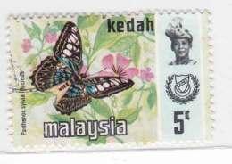 Malaysia 1977 1978 Harrison Butterflies Kedah Sultan 5c Used - Malaysia (1964-...)