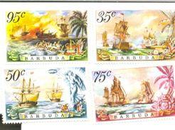 BARBUDA   209-12   1975  MINT NEVER HINGED STAMPS OF BATTLE OF THE SAINTS ; SHIPS - Antigua En Barbuda (1981-...)