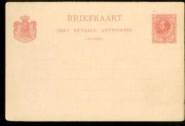SURINAME BRIEFKAART MET BETAALD ANTWOORD + BETAALD ANTWOORD VOORDRUK WILLEM III 2 1/2 CENT Ongebruikt (10.642o) - Surinam ... - 1975