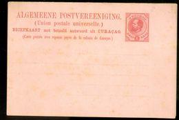 CURACAO BRIEFKAART MET BETAALD ANTWOORD + BETAALD ANTWOORD VOORDRUK WILLEM III 5 CENT Ongebruikt (10.642n) - Curaçao, Nederlandse Antillen, Aruba