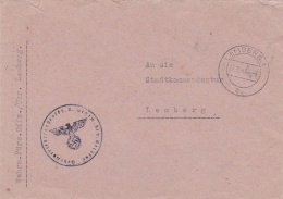 Feldpost WW2: From Wehrmacht Fürsorge Offizier/Ukraine Lemberg To Stadtkommandantur Lemberg P/m  Lemberg 27.3.1944 - Cov - Militaria