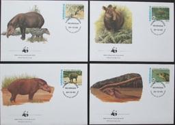 Nicaragua 1985 WWF Baird-Tapir (Tapirus Bairdii) Michel 1627-30  Auf 4 FDC - Rhinozerosse