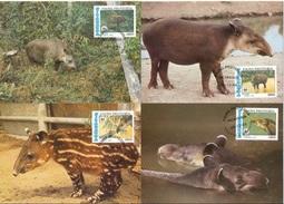 Nicaragua 1985 WWF Baird-Tapir (Tapirus Bairdii) Michel 1627-30 Auf 4 MK (Maximumkarten) - Rhinozerosse