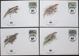 Cabo Verde 1986 WWF Geckos & Skinke (Lacertilia) Michel 500-503 Auf 4 FDC - Rhinozerosse
