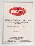 Publicité Bugatti Notice Conduite Entretien 1929 - Advertising